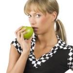 Biting green apple — Stock Photo #4705431