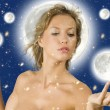 Royalty-Free Stock Photo: Star woman on the moon