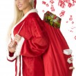 Blond santa claus with bag — Stock Photo