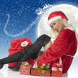 Christmas and black boots — Stock Photo