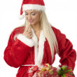 Choosing christmas box — Stock Photo