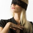 The blond with lace on eyes — Stock Photo