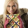 Blond girl christmas with christmas bag — Stock Photo #4705944