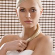 Beauty blond with white towel — Stockfoto