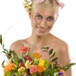 Spring woman with flowers — Stock Photo