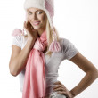 Winter girl portrait with pink scarf and hat — Stock Photo