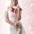 Woman with pink scarf on white — Stock Photo #4706084