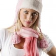 Winter portrait with pink scarf and hat — Stock Photo #4706085