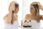 In the mirror — Stock Photo