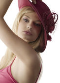 Blond with red fedora — Stock Photo