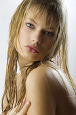 Ong blond wet hair — Stock Photo