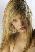 Girl blond wet hair — Stock Photo