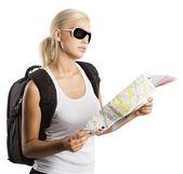 Blond tourist — Stock Photo