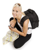 Blond tourist with gps — Stock Photo