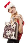 La fille de sac shopping de noël — Photo