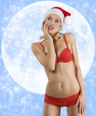 Sexy santa claus on the moon — Stock Photo