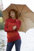 Under umbrella — Stock Photo