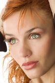 Green eyes redhead — Stock Photo