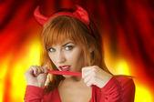 Portrait of a pretty devil — Stock Photo