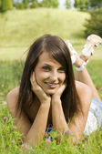 Nice girl on grass — Stock Photo