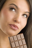 Portrait and chocolate — Stock Photo
