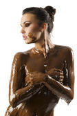 The chocolate girl — Stock Photo