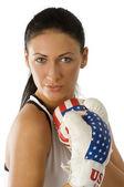 Mujer de retrato de boxeo — Foto de Stock
