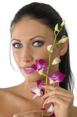 Beauty girl with flowers — Stock Photo