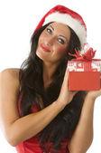 Brunette in christmas — Stock Photo