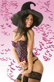 Sexy witch with hat — Stock Photo
