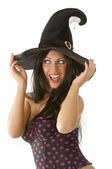 Blue eyes witch hat — Stock Photo