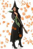扫帚的女巫 — 图库照片