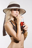 Summer drinking girl — Stock Photo