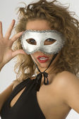 Portrait with mask — Stock Photo