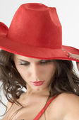 Hat and brunette — Stock Photo
