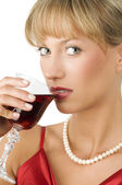 Red wine green eyes — Stock Photo