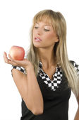 Apple in hand — Stock Photo