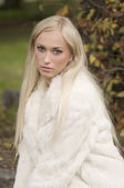 Blond with fur — Stock Photo