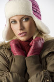 Close up of girl with pink hat — Stock Photo