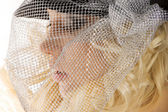 The girl with silver net — Stock Photo