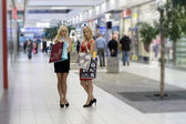 Two blond shopping woman — Stok fotoğraf