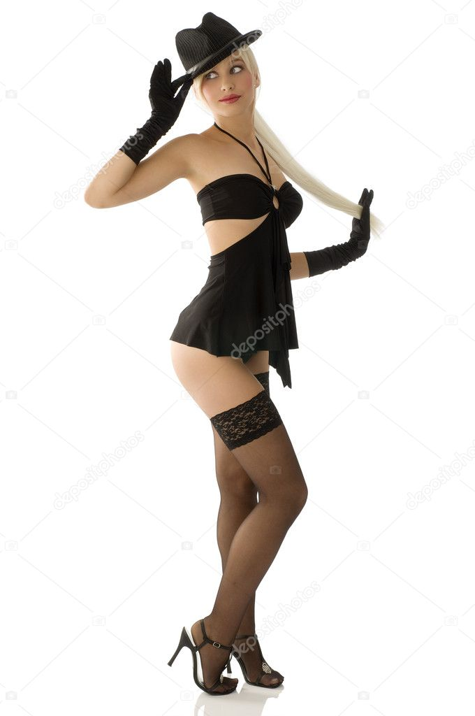 Sexy pinup girl in black with hat and long blond hair palyng as pinup  Stock Photo #4701869