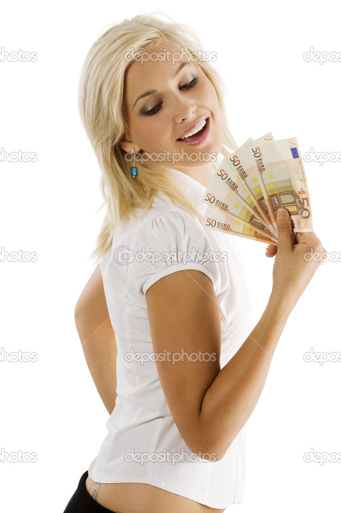 Beauty blond woman in white shirt with a fan of euro money smiling and looking down  Stock Photo #4702253