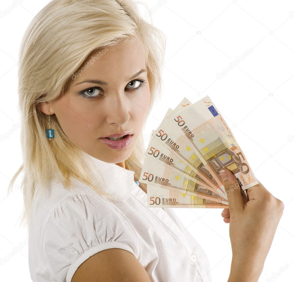 Cheerful young blond lady holding euro cash and smiling — Stock Photo #4702254