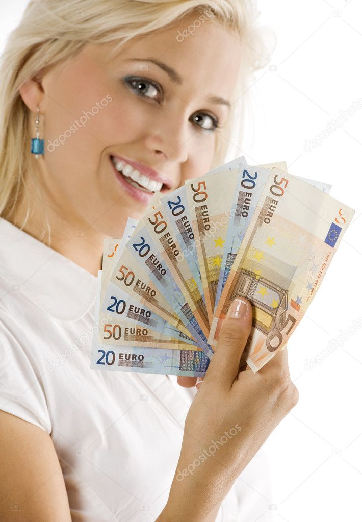 Smiling girl keeping a fan of euro cash . FOCUS ON THE MONEY . FACE NOT IN FOCUS — Foto de Stock   #4702259