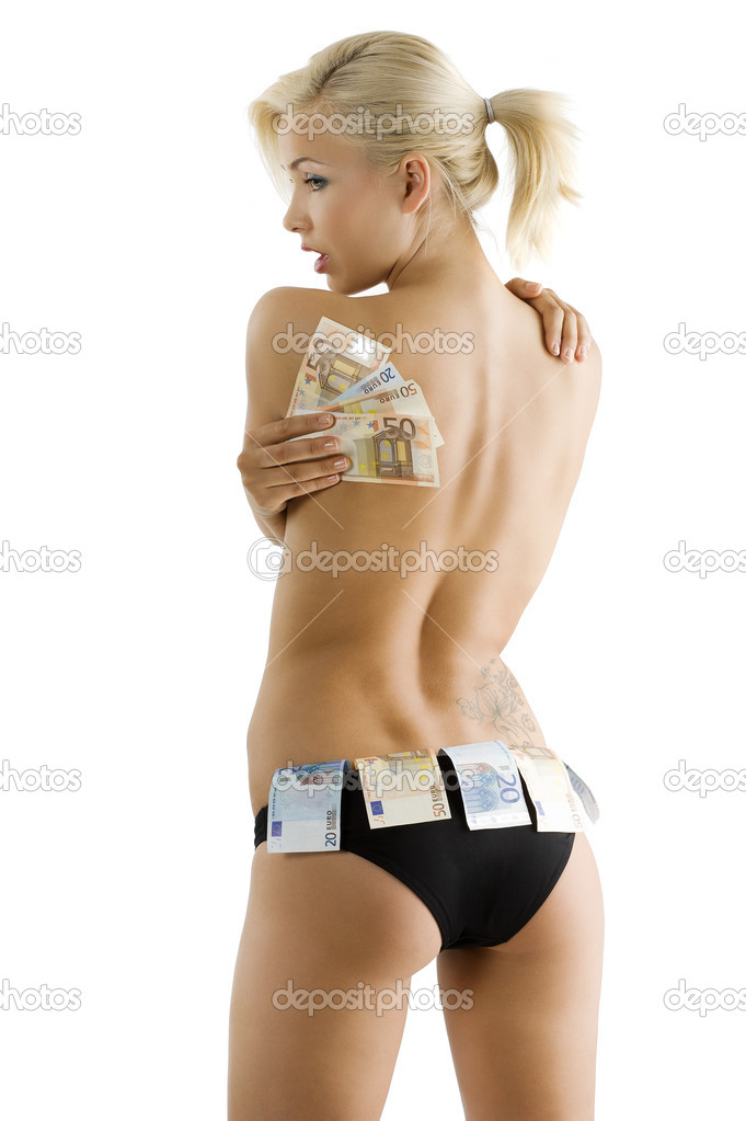 Beautyful sexy blond girl wearing black panties and keeping some euro money as a strip girl — Stock Photo #4702278