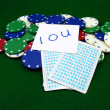 Poker Chips Cards and IOU Noye — Stock Photo #4416091