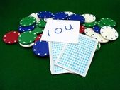 Poker Chips Cards and IOU Noye — Stock Photo
