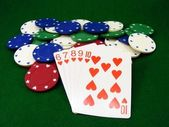 Poker Chips and Playing Cards — Stock Photo