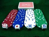Poker Chips Dice and Playing Cards — Stock Photo